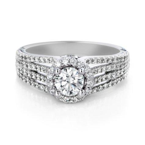 Premier Diamond Collection 1.22 CT. T.W. Round Diamond Halo Engagement Ring in 18K White Gold - GIA & IGI (G, SI1)