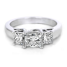 Premier Diamond Collection 2.20 CT. T.W. Princess Diamond Triple Stone Engagement Ring in 14K White Gold - IGI (H, I1)