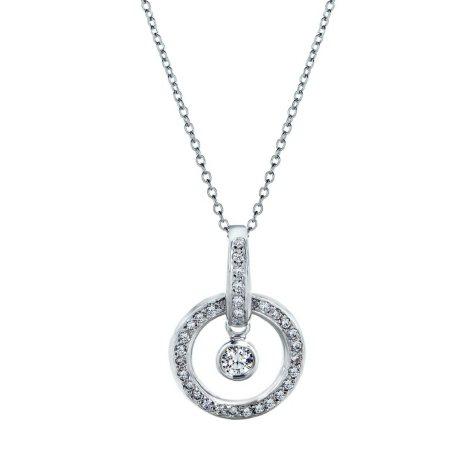Premier Diamond Collection 0.54 CT. T.W. Diamond Circle Drop Pendant in 18K White Gold - IGI (G-H, SI1-2)