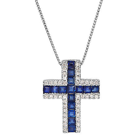 Sapphire and Diamond Accent Cross Pendant in 14K White Gold