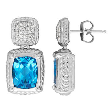 5.6 ct. t.w. Blue Topaz and Diamond Accent Earrings in Sterling Silver (H-I, S12)