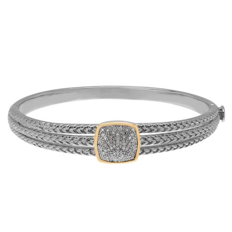 0.19 ct. t.w. Diamond Bangle in Sterling Silver and 14K Yellow Gold (H-I, S12)