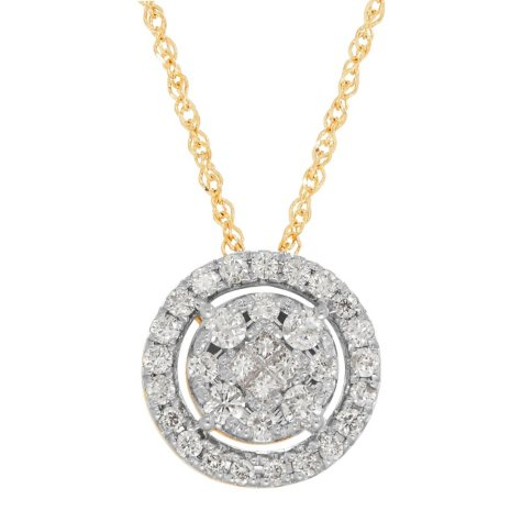 0.38 CT. T.W. Princess and Round Diamond Pendant