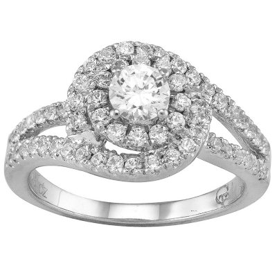 100 CT TW Double Halo Diamond Ring in 14K White Gold I I1