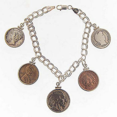 5 Coin Americana Sterling Silver Charm Bracelet
