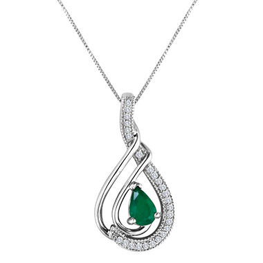 14K White Gold Emerald and Diamond Pendant (I, I1)