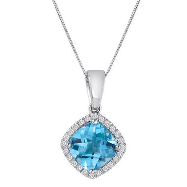 8mm Blue Topaz and 0.12 CT. T.W. Diamond Pendant in 14K White Gold (I, I1)