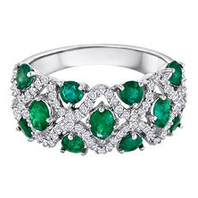 Emerald and Diamond 14K White Gold Ring (I, I1)