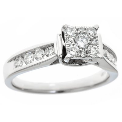 075 CT TW Diamond Composite Engagement Ring in 14K White Gold