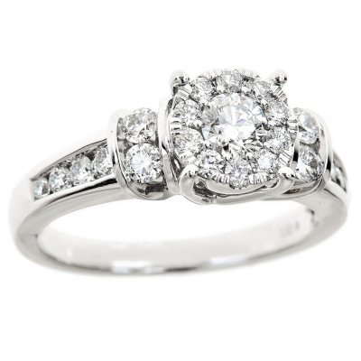 100 CT TW Diamond Composite Engagement Ring in 14K White Gold