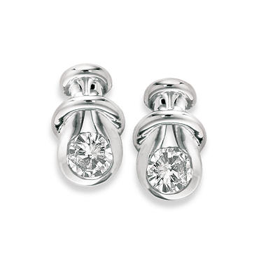 1.00 ct. t.w. Everlon™ Diamond Knot Earrings in White Gold (I,I1)