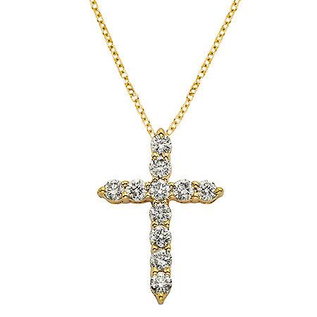 0.50 CT. T.W. Diamond Cross Pendant in 14K Gold (H-I, I1)