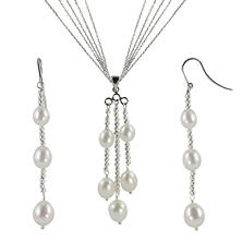 "18"" Sterling Silver Freshwater Pearl and Sparkle Bead Pendant & Earring Set"