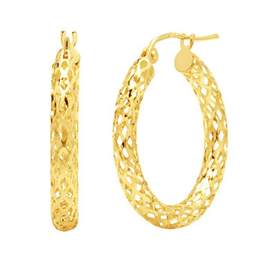 Pierced Hoop Earrings in 14K Yellow Gold