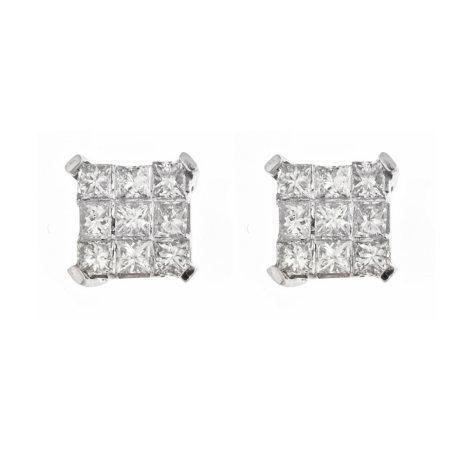 0.37 ct. t.w. Princess Diamond Earrings in 14K White Gold (H-I, I1)