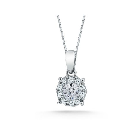0.50 CT. T.W. Unity Diamond Solitaire Plus Pendant in 14K White Gold  (I, I1)