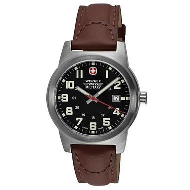 Wenger Swiss Military Classic Field Watch with Black Dial and Brown Strap