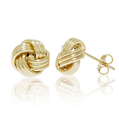 Polished Love Knot Post Earring In 14k Yellow Gold