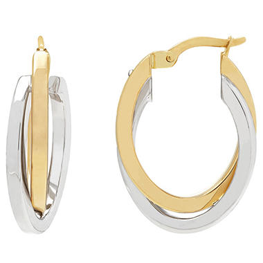 14k White And Yellow Gold Overling Hoop Earrings
