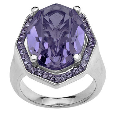 Purple Crystal Ring in Sterling Silver