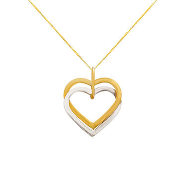 Double Heart Pendant in 14k Yellow and White Gold