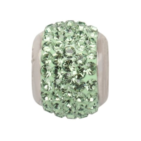 Genuine Green Swarovski Crystal Charm Bead in Sterling Silver