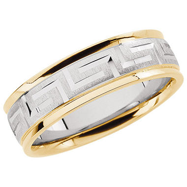 Two-Tone Gold Comfort Fit Greek Key Design Band