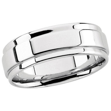 14K White Gold Grooved Beveled Band - 7.5mm