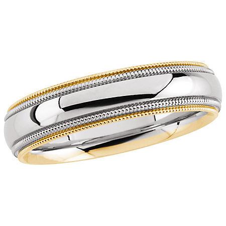 14K Two-Tone Gold 5.5mm Comfort Fit Milgrain Band