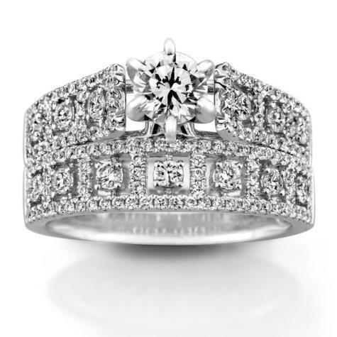 1.25 CT. T.W. Diamond Wedding Ring Set in 14K White Gold (HI, VS)