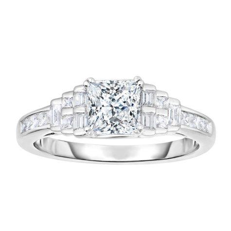 1.38 CT. T.W. Diamond Engagement Ring in 14K White Gold (HI, VS)
