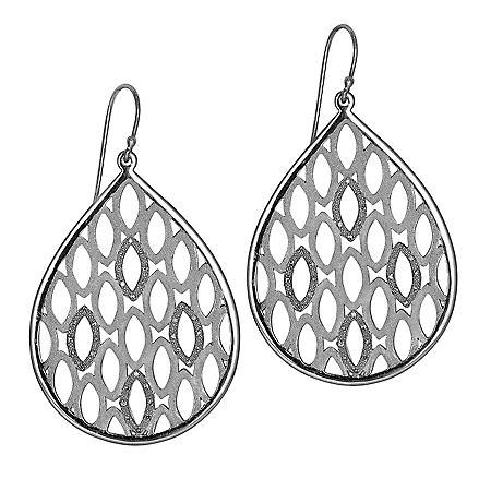0.20 CT. T.W. Diamond Accent Cut-Out Tear Drop Earrings in Sterling Silver