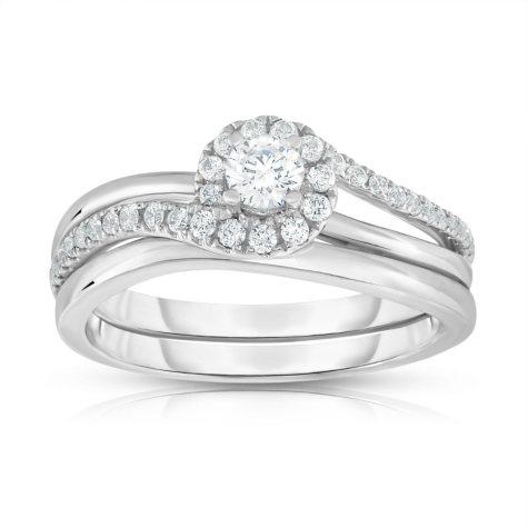 .50 CT. T.W. Diamond Engagement Set in 14k White Gold (HI, VS)