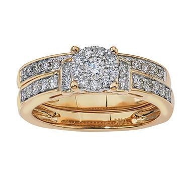 TW Diamond Wedding Ring Set In 14K Yellow Gold