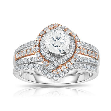 1.5 CT. T.W. Diamond Bridal Set in 14K Pink and White Gold (HI, VS)
