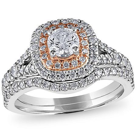 1 1/4 CT. T.W. Diamond Wedding Ring Set in 14K Pink and White Gold (HI, VS)