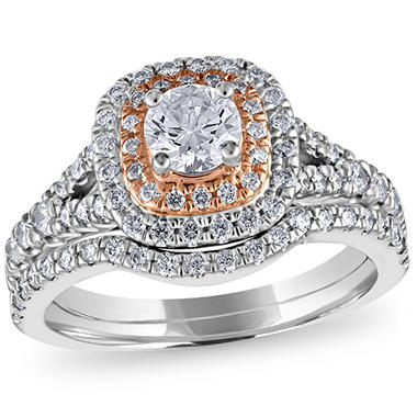 1 1/4 CT. T.W. Diamond Wedding Ring Set in 14K Pink and White Gold ...