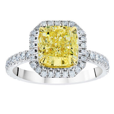 1.90 CT. T.W. Cushion-cut Fancy Yellow Halo Melee Diamond Ring in Platinum (FY, VS1)