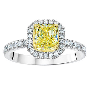 1.68 CT. T.W. Radiant-cut Fancy Yellow Halo Melee Diamond Ring in Platinum (FY, VS1)