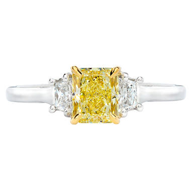 1.04 CT. T.W. Radiant-cut Fancy Yellow 3-Stone Diamond Ring in 18K White Gold (FY, SI2)