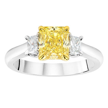 1.82 CT. T.W. Radiant-cut Fancy Yellow 3-Stone Diamond Ring in Platinum (FY, VS2)