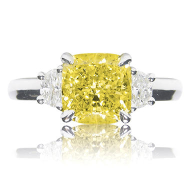 1.82 CT. T.W. Cushion-cut Fancy Yellow 3-Stone Diamond Ring in Platinum (FY, VS1)