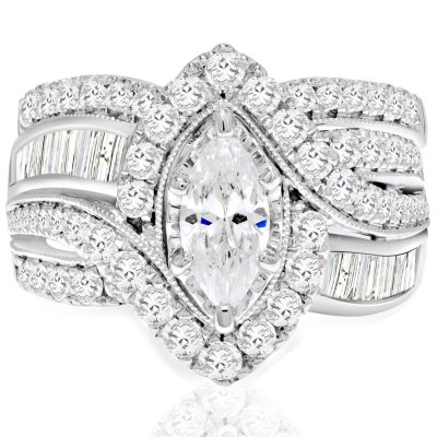 245 CT TW Marquise Diamond Wedding Ring Set in 14K White Gold