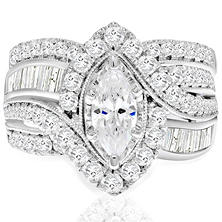 T.W. Marquise Diamond Wedding Ring Set In 14K White Gold (I,