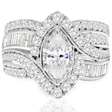 2.45 CT. T.W. Marquise Diamond Wedding Ring Set in 14K White Gold (I, I1)