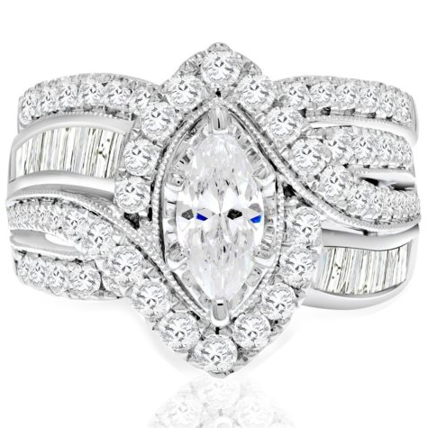 2.45 CT. T.W. Marquise Diamond Wedding Ring Set in 14K White Gold (I, I1)