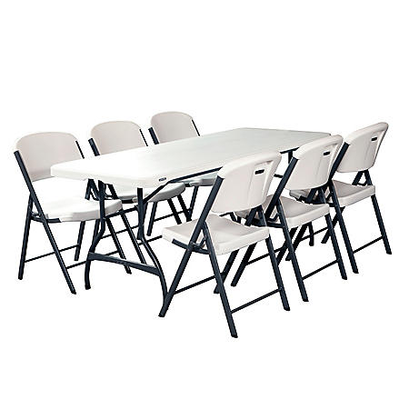 Lifetime Combo - 6' Commercial Grade Folding Table and (6) Folding Chairs, Select Color