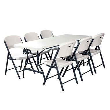 lifetime combo-one 6' commercial grade folding table and 6 folding