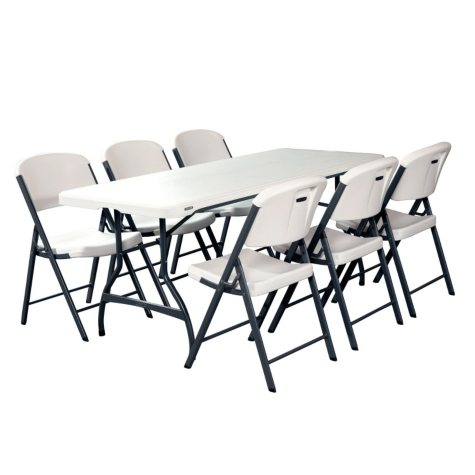 Lifetime Combo - 6' Commercial Grade Folding Table and (6) Folding Chairs, White Granite