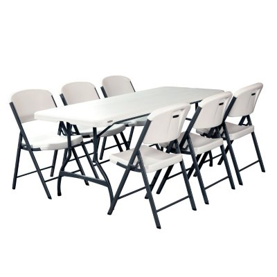Lifetime Combo   6u0027 Commercial Grade Folding Table And (6) Folding Chairs,